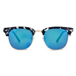 Diff Eyewear Barry Black & White w/Blue Mirror